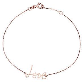 9ct Rose Gold 'Love' Bracelet - Product number 4476131