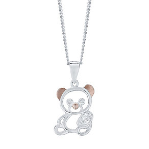 Kids Sterling Silver and Rose Gold Teddy Bear Pendant - Product number 4476174