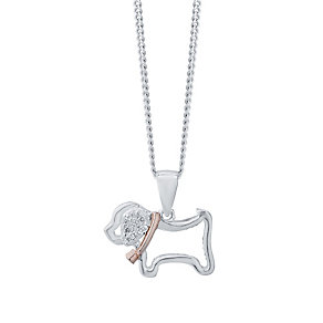 Kids Sterling Silver and Rose Gold Dog Pendant - Product number 4476441