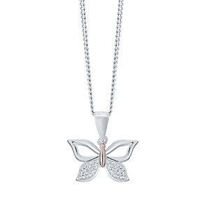 Sterling Silver & Rose Gold Plated Butterfly Pendant - Product number 4476484