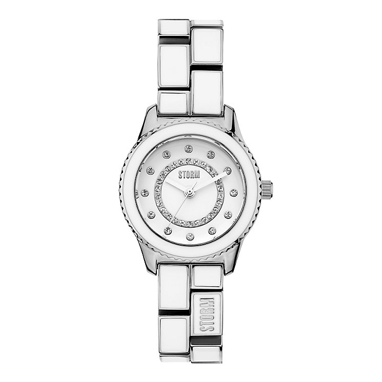 Storm Ladies' White Enamel Stainless Steel Bracelet Watch - Product number 4476751