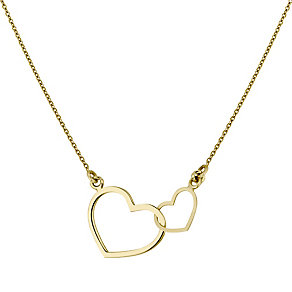 9ct Gold Linked Hearts Necklace - Product number 4477332
