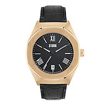Storm Men's Rose Gold Case Black Leather Strap Watch - Product number 4477693