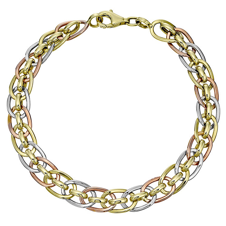 9ct Gold Three Tone Oval Link Bracelet - Product number 4477723