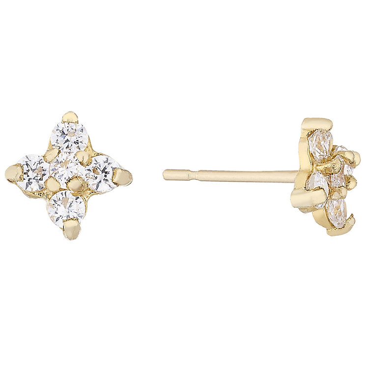 9ct Cubic Zirconia Flower Stud Earrings - Product number 4477766
