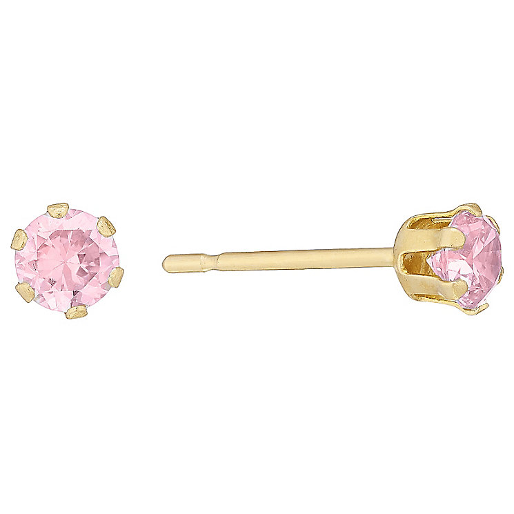 9ct Gold Pink Cubic Zirconia Stud Earrings - Product number 4478797