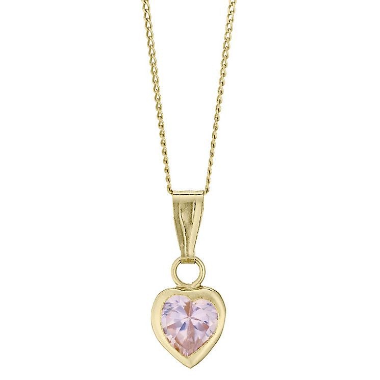 9ct Yellow Gold Pink Cubic Zirconia Heart Shaped Pendant - Product number 4478800