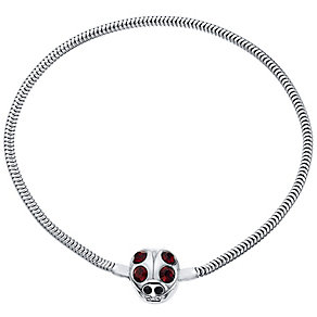 Kids Sterling Silver And Red Crystal Ladybird Snap Bracelet - Product number 4478886