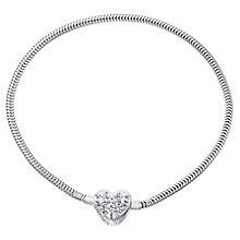 Kids Sterling Silver And Crystal Heart Snap Bracelet - Product number 4478894