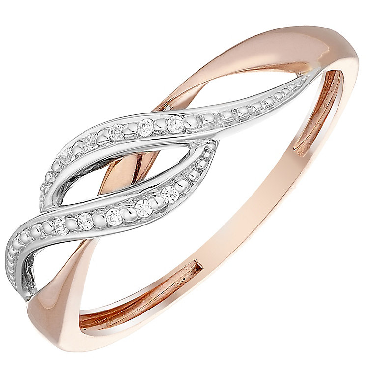 9ct Rose Gold Cubic Zirconia Set Wave Ring - Product number 4479041