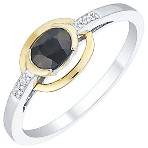 Sterling Silver & 9ct Gold Sapphire Set Oval Ring - Product number 4479203