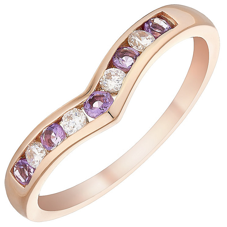 9ct Rose Gold Amethyst & Cubic Zirconia Eternity Ring - Product number 4479858