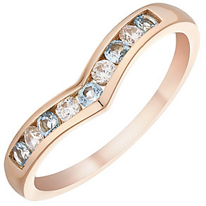 9ct Rose Gold Blue Topaz & Cubic Zirconia Eternity Ring - Product number 4480287