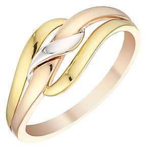 9ct Three Colour Gold Crossover Ring - Product number 4480422