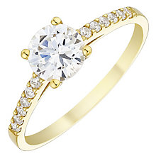 9ct Yellow Gold 6mm Cubic Zirconia Ring - Product number 4480570