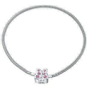 Kids Sterling Silver And Pink Crystal Butterfly Bracelet - Product number 4480775