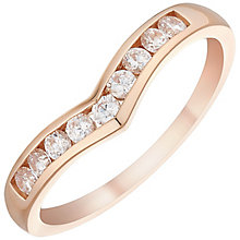 9ct Rose Gold Cubic Zirconia Wishbone Ring - Product number 4481453