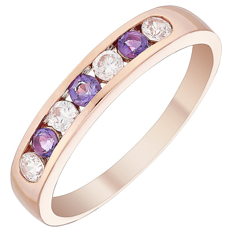 9ct Rose Gold Amethyst & Cubic Zirconia Half Eternity Ring - Product number 4482034