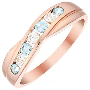 9ct Rose Gold Blue Topaz & Cubic Zirconia Half Eternity Ring - Product number 4482441
