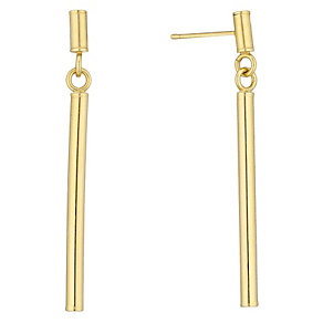 9ct Yellow Gold Bar Drop Earrings - Product number 4483103