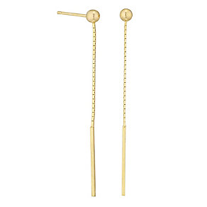 9ct Gold Thread Through Style Drop Earrings - Product number 4483111