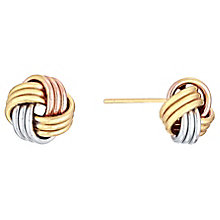 9ct Three Colour Gold Knot Stud - Product number 4483146