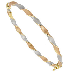 9ct Gold 3 Colour Satin Finish Hinged Bangle - Product number 4483154