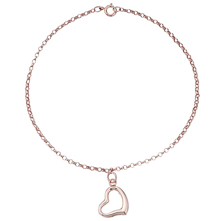 9ct Rose Gold Open Heart Charmed Bracelet - Product number 4483170