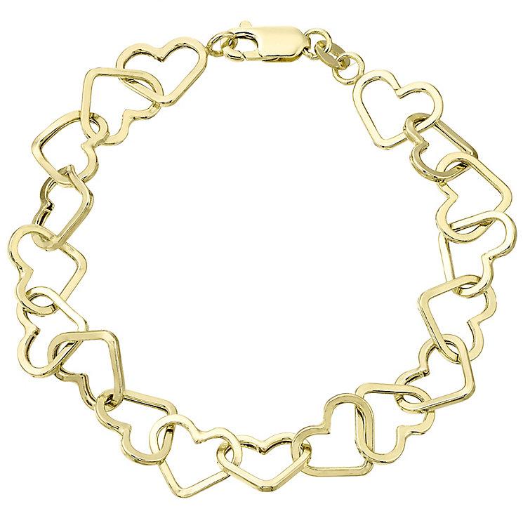 9ct Gold Heart Link Bracelet - Product number 4483219