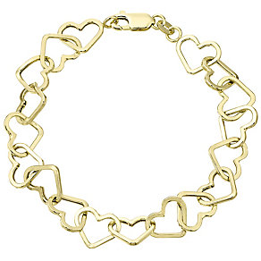 9ct Gold Heart Link Bracelet - Product number 4483219