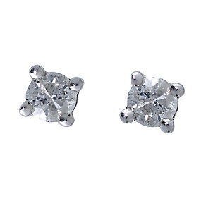 9ct white gold quarter carat diamond solitaire earrings - Product number 4484479