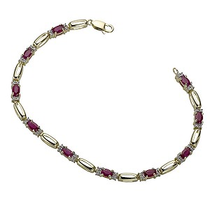 9ct gold 1/5 Carat Diamond and Ruby Bracelet product image