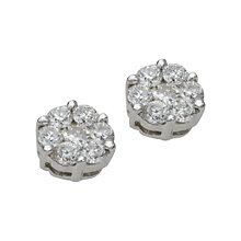 9ct white gold half carat diamond cluster stud earrings - Product number 4486471