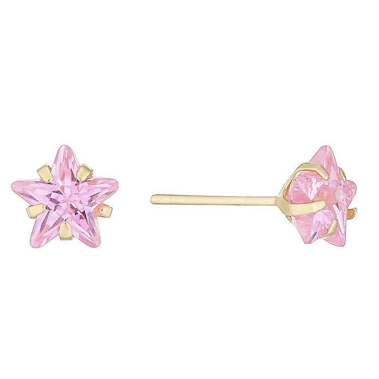 9ct Gold Pink Cubic Zirconia Star Stud Earrings - Product number 4487257