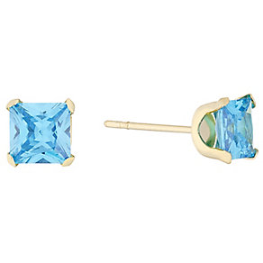 9ct Gold Turquoise Princess Cut Cubic Zirconia Stud Earrings - Product number 4487273