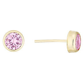 9ct Gold Pink Cubic Zirconia Rubover Stud Earrings - Product number 4487281