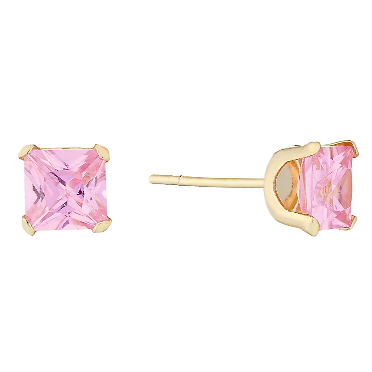 9ct Gold Pink Princess Cut Cubic Zirconia Stud Earrings - Product number 4487303