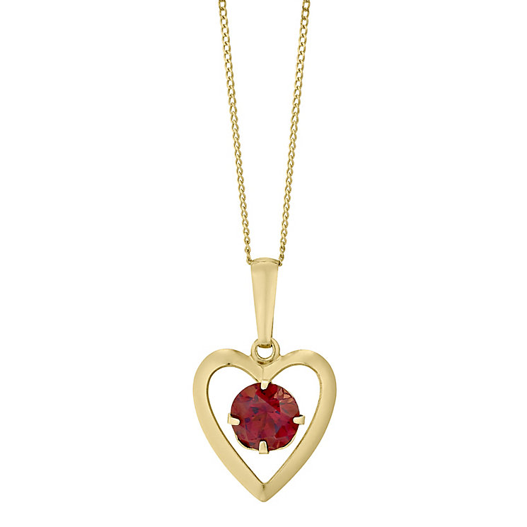 9ct Yellow Gold Garnet Heart Pendant - Product number 4487311