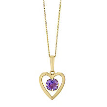 9ct Yellow Gold Amethyst Heart Pendant - Product number 4487338