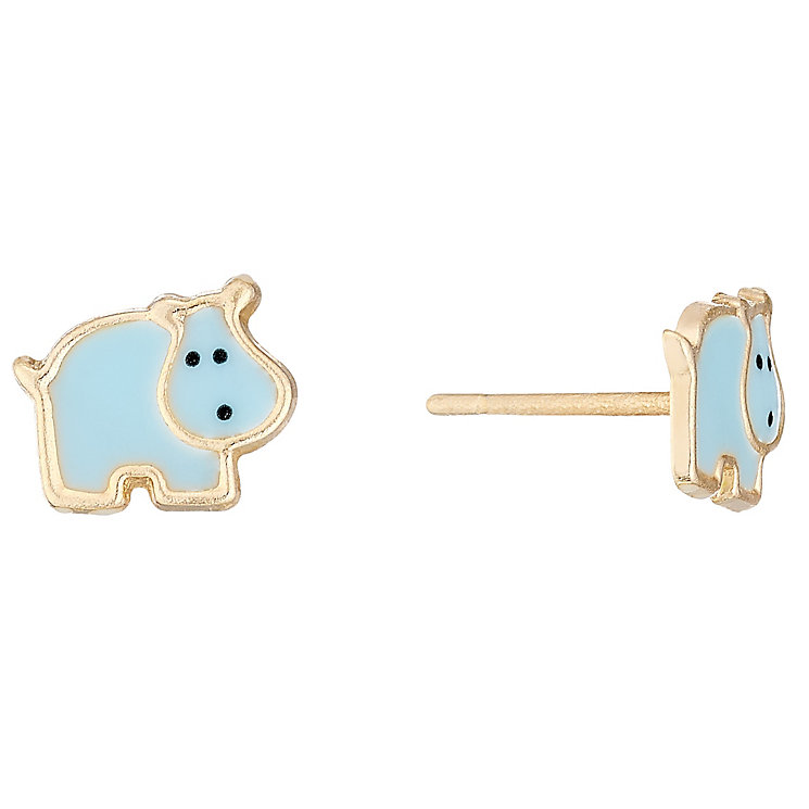 9ct Gold & Enamel Hippo Stud Earrings - Product number 4487362