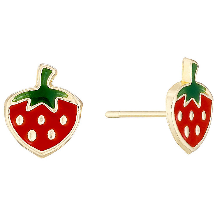9ct Gold & Enamel Strawberry Stud Earrings - Product number 4487389