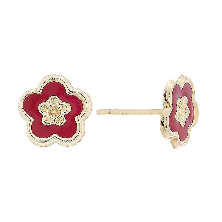 9ct Gold & Enamel Cubic Zirconia Set Flower Stud Earrings - Product number 4487397