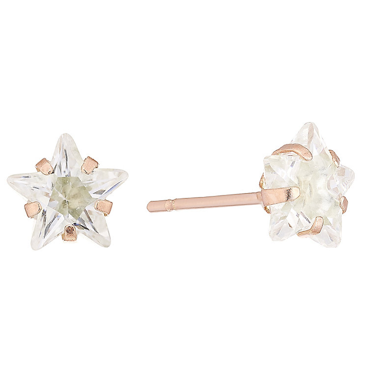9ct Rose Gold Cubic Zirconia Star Stud Earrings - Product number 4487419