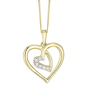 9ct Gold Cubic Zirconia Set Double Open Heart Pendant - Product number 4487591