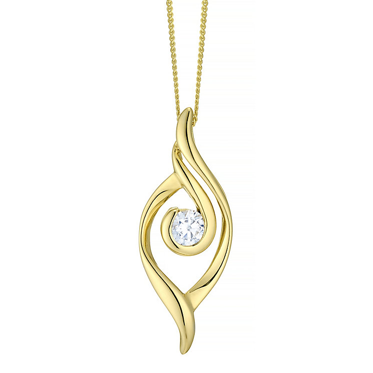 9ct Gold Cubic Zirconia Centre Pendant - Product number 4487613