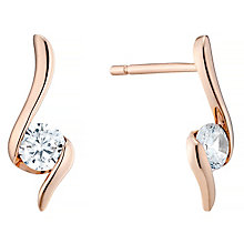9ct Rose Gold Twist Cubic Zirconia Studs - Product number 4487621