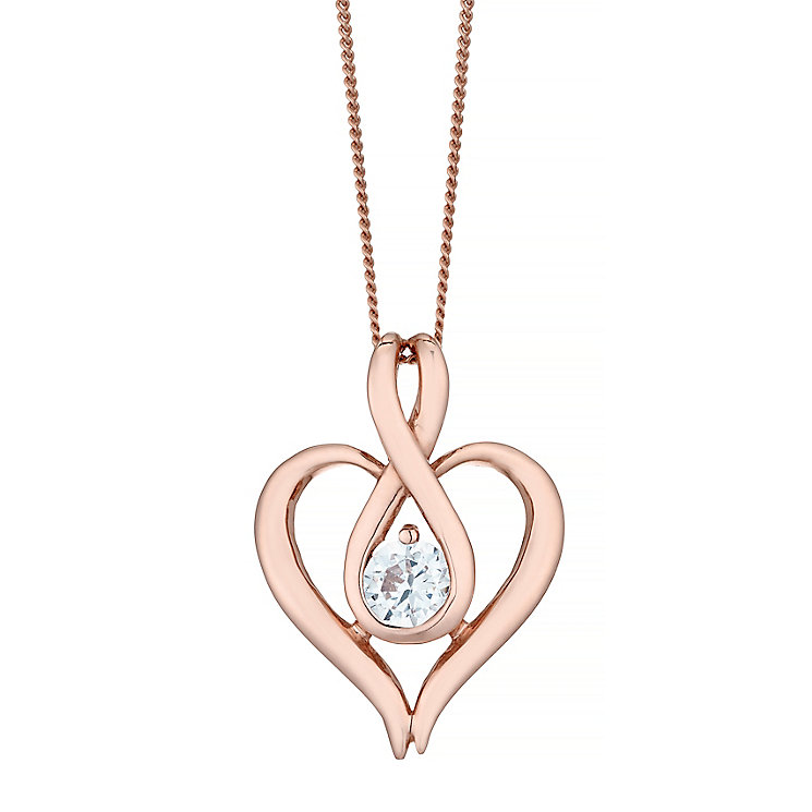 9ct Rose Gold Fancy Figure Of 8 Cubic Zirconia Heart Pendant - Product number 4487656