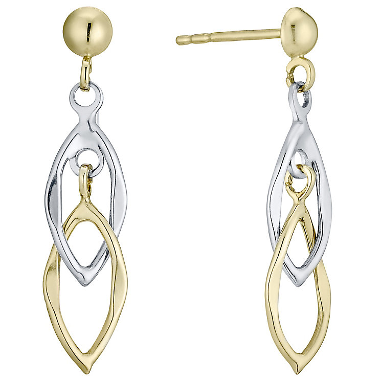 9ct Gold 2 Colour Double Drop Earrings - Product number 4488229