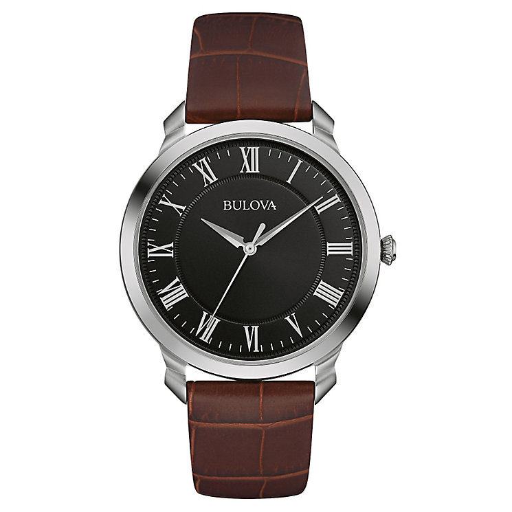 Bulova Men's Black Dial Brown Leather Strap Watch - Product number 4488253