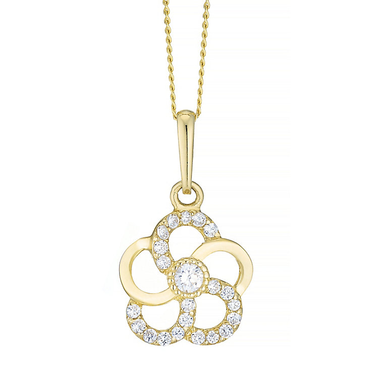 9ct Gold Cubic Zirconia Set Flower Pendant - Product number 4489136